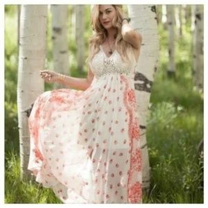 Free People Victorian Love Printed Crochet Dress M